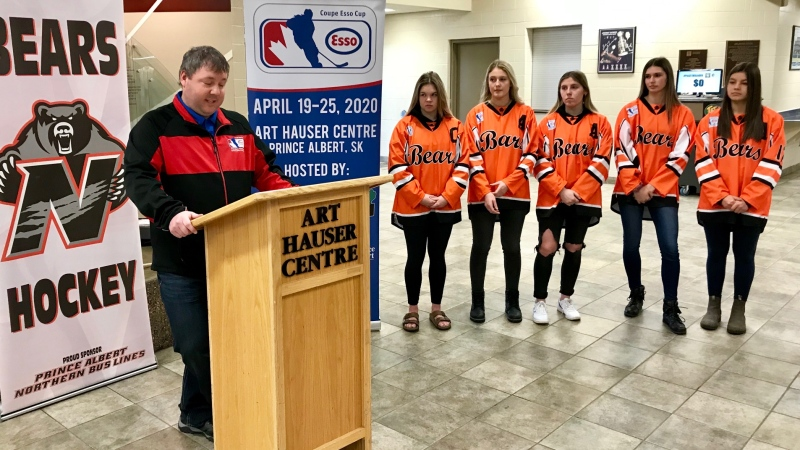 Esso Cup Chair Robin Wildey speaks at a news conference at the Art Hauser Centre on Friday, Nov. 15, 2019. (Lataevia-Ceianna Beezer/CTV Prince Albert)