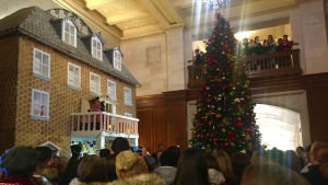 The two-storey, 20-foot-high gingerbread house was unveiled to the public at Edmonton's Fairmont Hotel Macdonald on Friday, Nov. 15, 2019. (CTV News Edmonton)