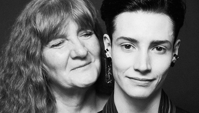 Transgender supermodel Krow, right, and his mother Lisa Jacobsen are featured in a new documentary about his transition. (Krow's TRANSformation/Pooya Nabei)