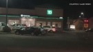 Officers say shortly before 8 p.m., a male with a handgun entered the TD Bank on Regis St. and made off with some cash.