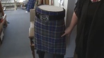 Renowned kilt maker Deanna Lloy created the new design, called 'Absolute Darkness', a tribute to life underground. It's been registered with the Scottish Authority, making it an official tartan.