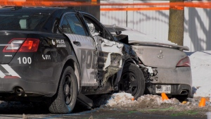 Two Laval Police officers are injured after they crashed on an icy road Nov. 16, 2019.