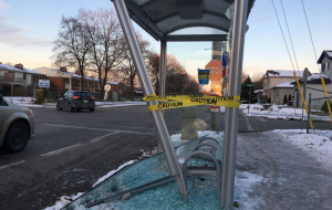 A vehicle smashed into a bus shelter at Barker Street and Kipps Lane in London, Ont. on Saturday, Nov. 16, 2019.