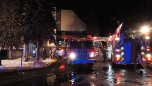 Firefighters were called to 2421 104 Street after a fire was reported in the complex's parkade and caused heavy black smoke in the area.