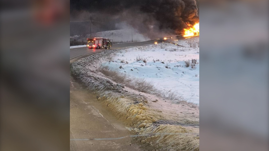 Highway 49, Nov. 16, fire, oil tanker
