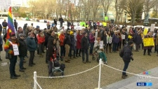 Hundreds protest 'conscience rights' act
