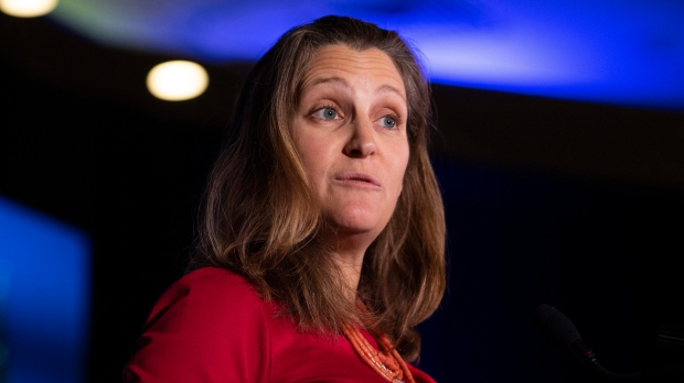 Minister of Foreign Affairs Chrystia Freeland delivers an address at the Triennial Congress of Ukrainian Canadians in Ottawa, on Friday, Nov. 1, 2019. (THE CANADIAN PRESS / Justin Tang)