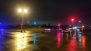 Winnipeg police on scene at the intersection of Chief Peguis Trail and Gateway Road in Winnipeg on Nov. 16, 2019. (Source: Daniel Timmerman/CTV News Winnipeg)