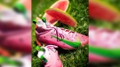 Riders wide receiver Kenny Stafford has been waiting to debut his watermelon-head inspired cleats for weeks, and he could get the chance in the Western Final. (Source: Kenny Stafford/Instagram)