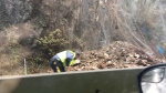 Highway crews on Vancouver Island are working to reopen Highway 1 near Goldstream Provincial Park after a rockslide Sunday morning. (Amber Schinkel/CTV)