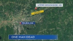 An 80-year-old man from East Hants is dead after a single vehicle collision in Upper Brookside, Colchester County on Sunday morning.