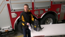Senior firefighter John Moersch hopes the backpacks loaded with supplies with help Calgary families dealing with emotions and distress after a house fire.