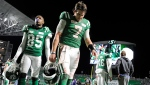 Saskatchewan Roughriders quarterback Cody Fajardo leaves the field after losing to the Winnipeg Blue Bombers in the CFL West Division final at Mosaic Stadium in Regina on Sunday, Nov. 17, 2019. THE CANADIAN PRESS/Mark Taylor