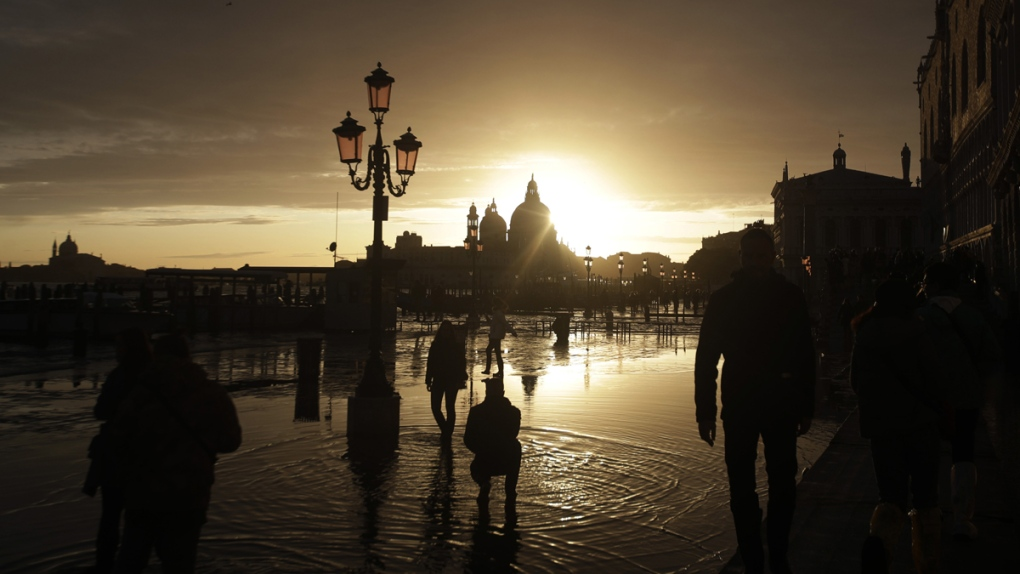 A golden sunset in Venice, Italy