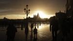 A golden sunset in Venice, Italy, on Nov. 17, 2019. (Luca Bruno / AP)