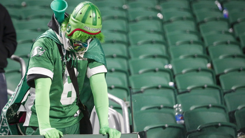 A disappointed Saskatchewan Roughriders fan