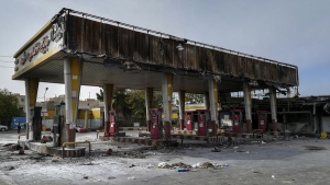 A gas station that was burned during protests in Tehran, Iran, on Nov. 17, 2019. (Abdolvahed Mirzazadeh / ISNA via AP)