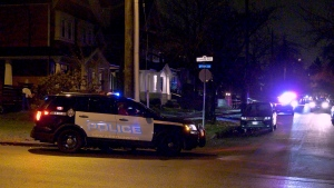 New Westminster police surrounded a home late Sunday night.