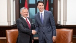 Prime Minister Justin Trudeau meets with King Abdullah II of Jordan on Parliament Hill in Ottawa, Monday November 18, 2019. THE CANADIAN PRESS/Adrian Wyld