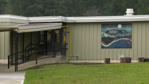 The exterior of John Howitt Elementary School in Port Alberni, B.C. is shown.