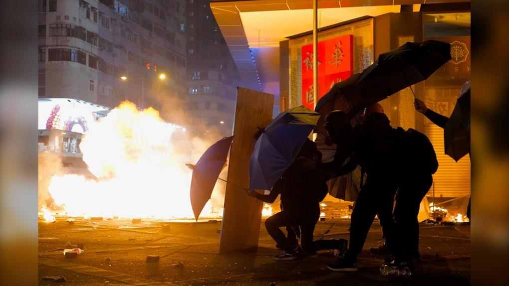 Hong Kong, protest, umbrellas