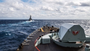 HMCS Ottawa conducts ship manoeuvres with JS Chokai and JS Shimakaze during Exercise KAEDEX, a bilateral exercise with the Japan Maritime Self-Defense Force, conducted as part of Operation PROJECTION, October 17, 2019. (Canadian Armed Forces/ Leading Seaman Victoria Ioganov/Handout)