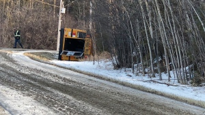 A school bus rolled west of Edmonton on Nov. 18, 2019. (Sean McClune/CTV News Edmonton)