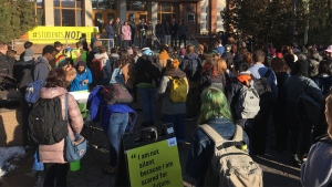 University of Alberta students are marching from their school to the legislature to protest the province's post-secondary cuts. Nov. 18, 2019. (CTV News Edmonton)