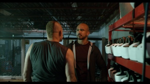 """Alex Montagnani, right, and Chuck Liddell, left shooting a scene for the upcoming film """"Cagefighter"""". (Supplied: Anamorphic Media and Trilight Entertainment)"""