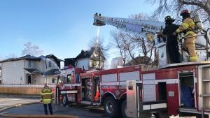 Fire damaged two homes in Edmonton on Nov. 18, 2019. (Darcy Seaton/CTV News Edmonton)