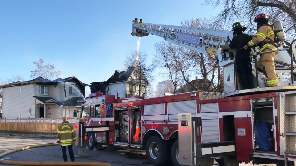 Fire damaged two homes in Edmonton on Nov. 18, 2019. (Darcy Seaton/CTV News Edmonton)