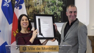 Erick Marciano was honoured as a hero at Montreal City Hall.