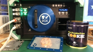 The Zero G Kitchen space oven and a tin of DoubleTree by Hilton chocolate chip cookies were sent up to the International Space Station. (Hilton/DoubleTree)