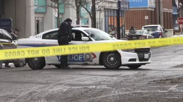 Sudbury police cordoned off an area downtown