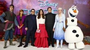 Character actors Voice actors from left to right, Kristoff, Anna, Elsa (2nd from right) and Olaf (far right) pose for photographers with voice actors, Josh Gad, centre left, Idina Menzel, centre and Jonathan Groff, centre right, upon arrival at the European premiere of 'Frozen 2', in central London, Sunday, Nov. 17, 2019. (Photo by Joel C Ryan/Invision/AP)