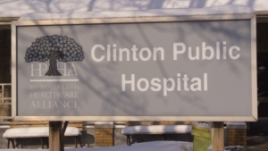 The sign for the Clinton Public Hospital in Clinton, Ont. is seen on Monday, Nov. 18, 2019. (Scott Miller / CTV London)