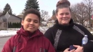 Isaiah Kennis-Carr, 11, and his mom, Catelina Kennis speak out on bullying in London, Ont. on Monday, Nov. 18, 2019. (Brent Lale / CTV London)