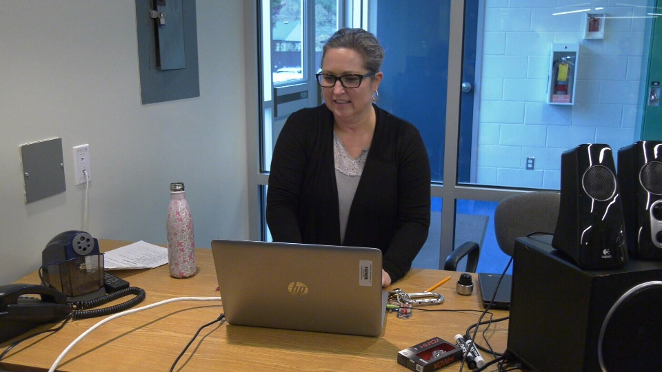 Erin Larsen at Dunsmuir Middle School using a new laptop provided by the school district for teachers: Nov. 18, 2019 (CTV Vancouver Island)