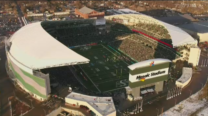 An aerial shot of Mosaic Stadium used in TSN's broadcast of the 2019 Western Final. (Courtesy: Java Post Aerial Productions)