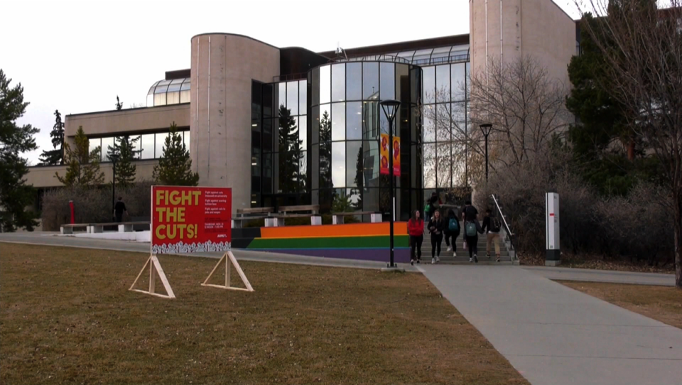 A protest sign outside of MacEwan Hall on the University of Calgary campus on Nov. 19, 2019
