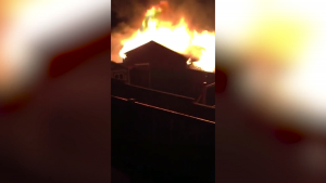 A garage caught fire in northwest Calgary Monday night
