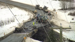 The Highway 49 bridge over the Pouce Coupe River just west of the Alberta-B.C. border saw one lane reopened Monday, Nov. 18.