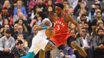 Charlotte Hornets guard Terry Rozier (3) protects the ball from Toronto Raptors forward OG Anunoby (3) during first half NBA action in Toronto on Monday, Nov. 18, 2019. THE CANADIAN PRESS/Frank Gunn