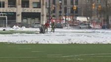 Clearing the field at Immaculata High School