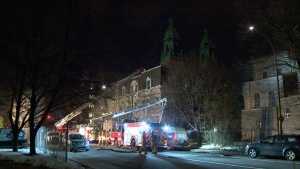 Montreal police are investigating after firefighters responded to a blaze at a former presbytery in the east end.