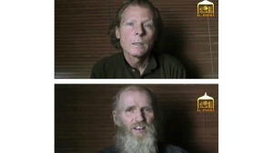 This two photo combination image taken from video released June 21, 2017, by the Taliban spokesman Zabihullah Mujahid, shows kidnapped teachers Australian Timothy Weekes, top, and American Kevin King, who were both abducted by the insurgents in Afghanistan in August 2016. (EL-EMARA Taliban via AP, File)