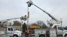 Crews work to restore power on Howard Avenue in Windsor, on Tuesday, Nov. 19, 2019. (Rich Garton / CTV Windsor)