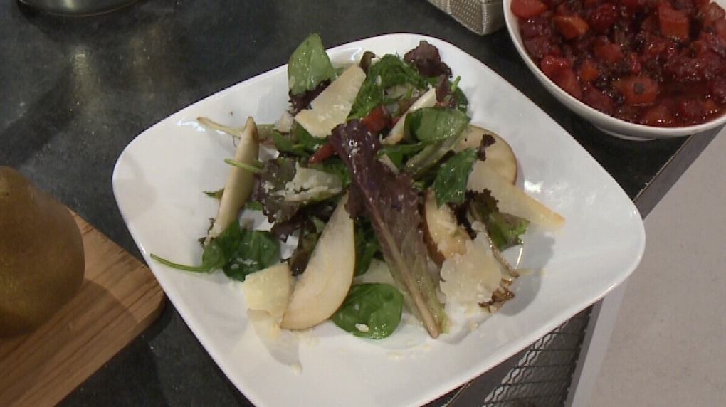 Pear & Spinach Salad With Parmesan Vinaigrette