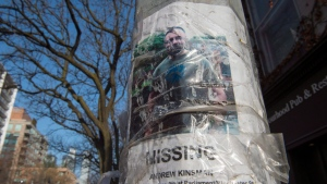 A worn missing poster for Andrew Kinsman is taped to a pole in the Church and Wellesley neighbourhood in Toronto on Friday January 19, 2018. THE CANADIAN PRESS/Frank Gunn