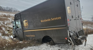 The wheels of the UPS delivery truck pictured above came off while driving on Highway 407 in Markham. (OPP)